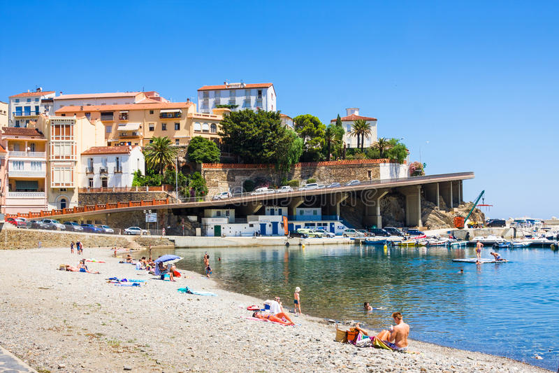 CERBERE, FRANCE - JULY 10, 2016: Mediterranean village of Cerbere, Cote Vermeille, Pyrenees Orientales, Roussillon, France. Last F stock photo