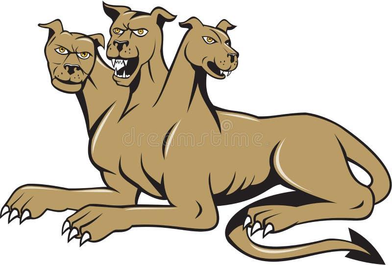 Cerberus多头狗恶鬼坐的动画片 向量例证