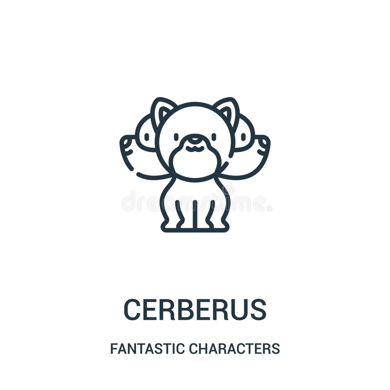 cerberus icon vector from fantastic characters collection. Thin line cerberus outline icon vector illustration royalty free illustration
