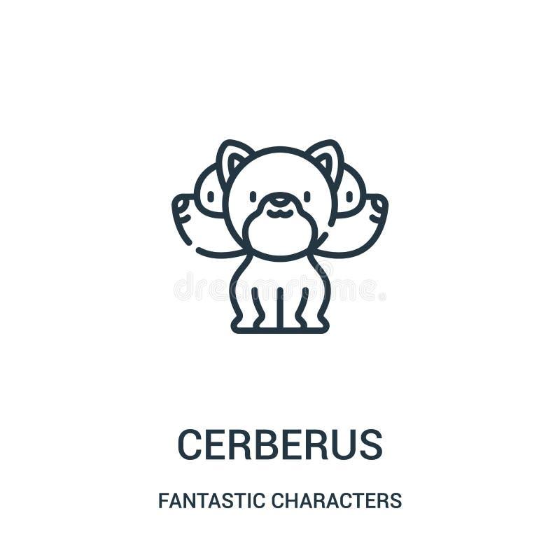 cerberus ikony wektor od fantastycznych charakterów inkasowych Cienka kreskowa cerberus konturu ikony wektoru ilustracja royalty ilustracja