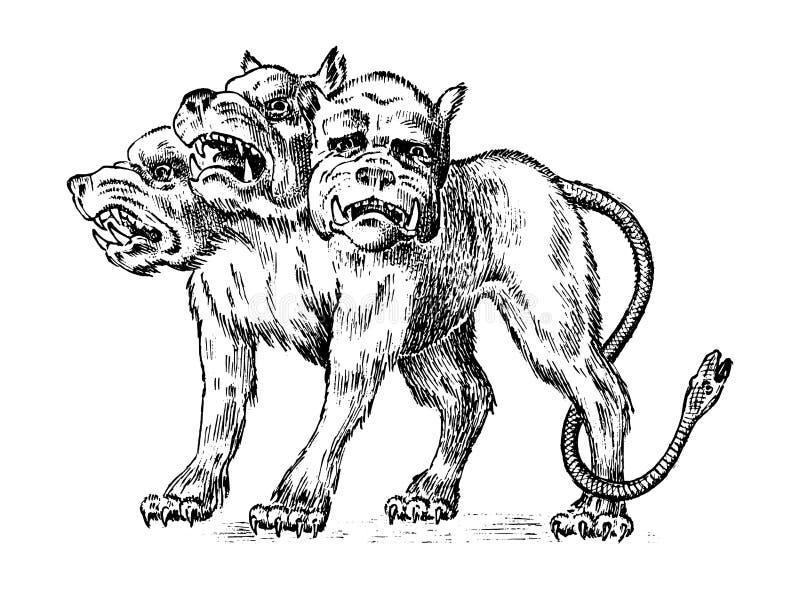 Cerberus tre ha diretto il cane Mostro antico greco mitico Animale mitologico Creature fantastiche nella vecchia annata illustrazione vettoriale