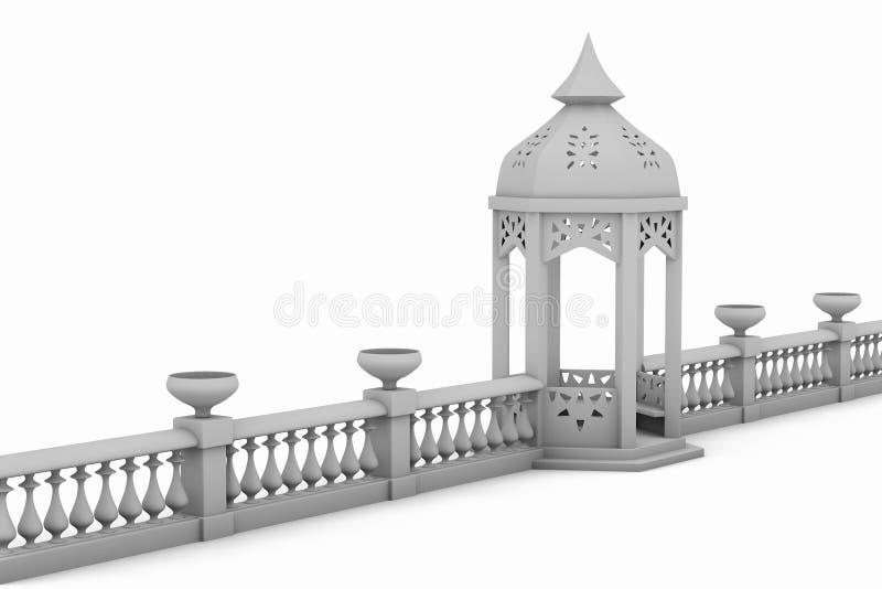 Cerca branca com caramanchão ilustração royalty free