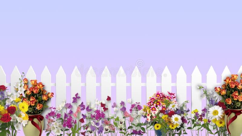 Cerca branca com flores ilustração stock