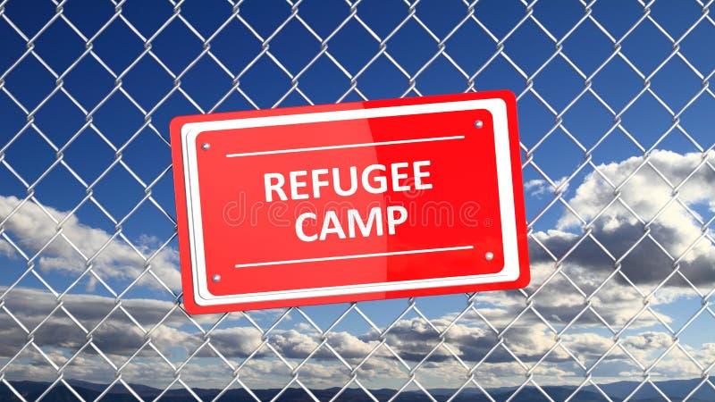 Cerca Chain com campo de refugiados vermelho do sinal ilustração do vetor