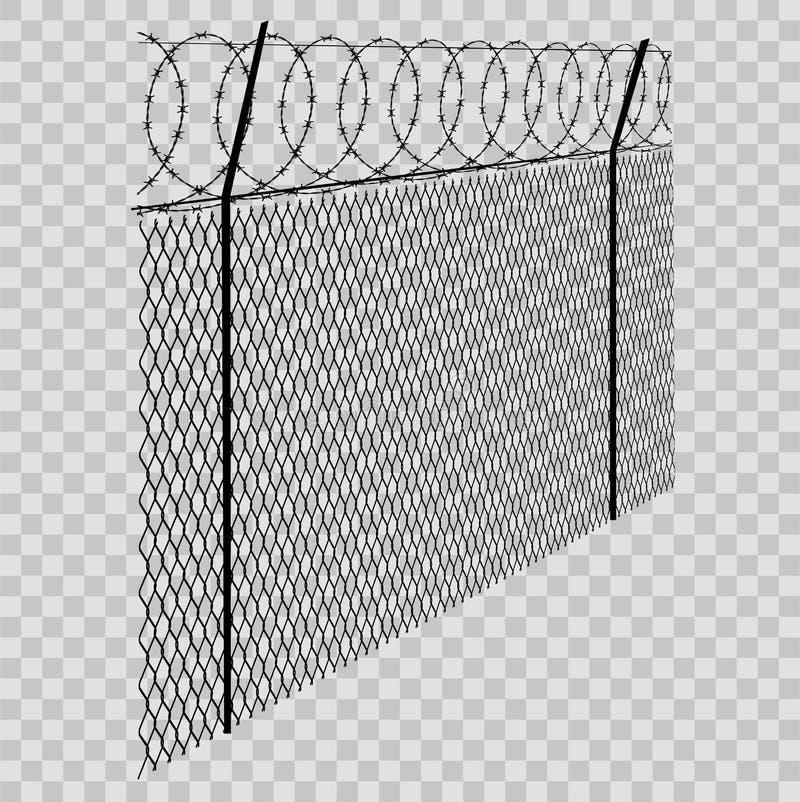 Cerca com arame farpado sobre fundo transparente ilustração do vetor