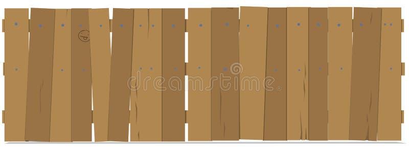A cerca consiste em um grupo de placas verticais pregadas às barras horizontais nos pregos ilustração royalty free