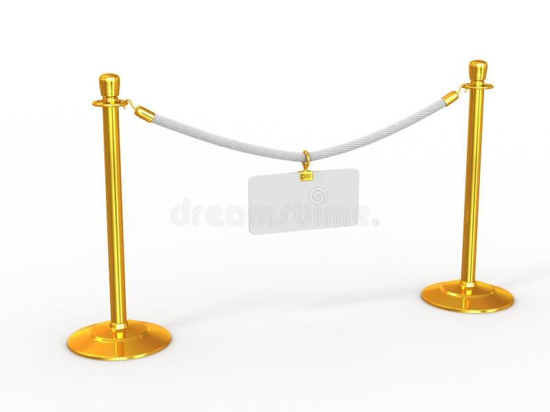 Cerca da corda com placa vazia ilustração do vetor
