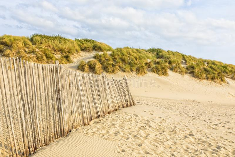 Cerca da duna na praia de Normandy fotos de stock