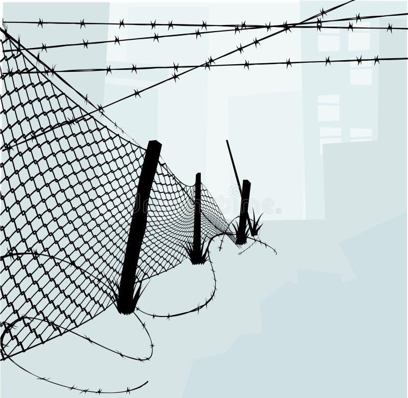 Cerca da ligação Chain e Wi farpados ilustração do vetor