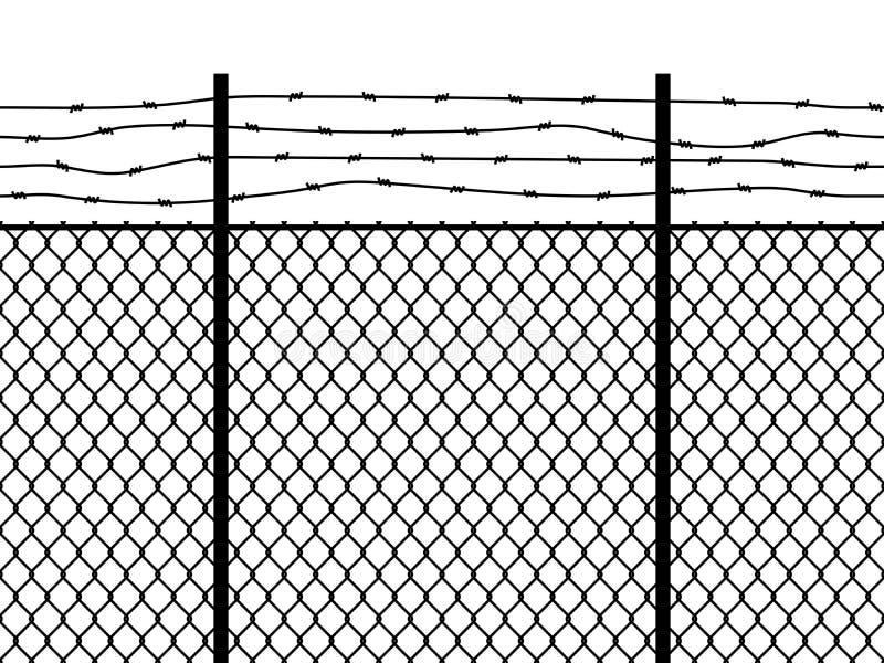 Cerca da pris?o Preto farpado do vetor da grade do perímetro da segurança fronteiriça do enlace militar sem emenda da parede do f ilustração royalty free