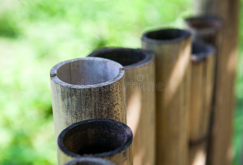 Cerca de bambu velha em um país tropical Fundo da textura foto de stock royalty free