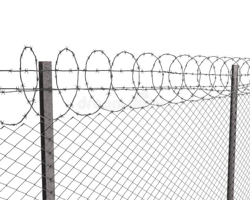 Cerca de Chainlink com arame farpado na parte superior ilustração do vetor