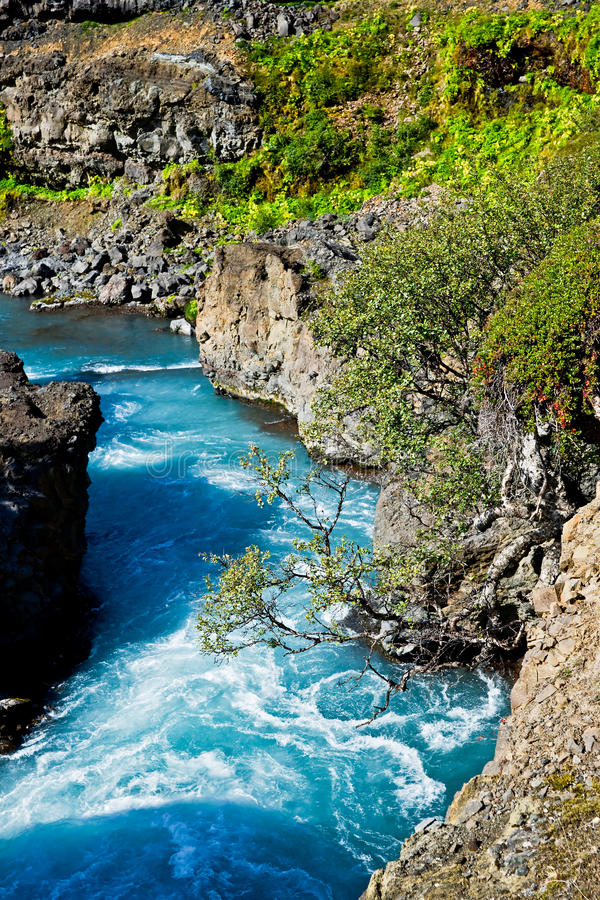 Cerca de las cascadas de Hraunfossar en Islandia imagen de archivo