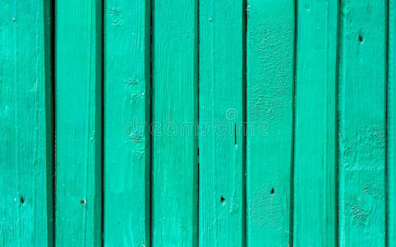 Cerca de madeira Background da prancha estreita gasto Cor pastel de água-marinha de turquesa Textura de superfície com furos de p foto de stock royalty free