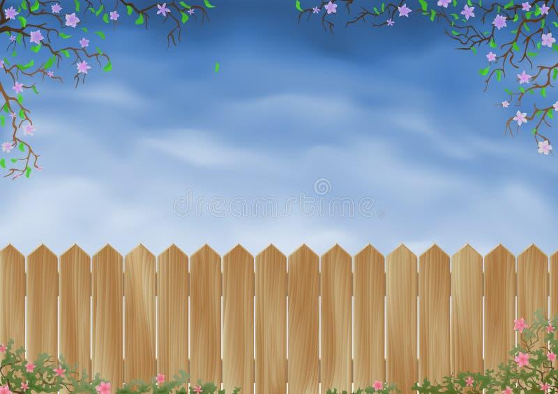 Cerca de madeira cercada por flores ilustração do vetor