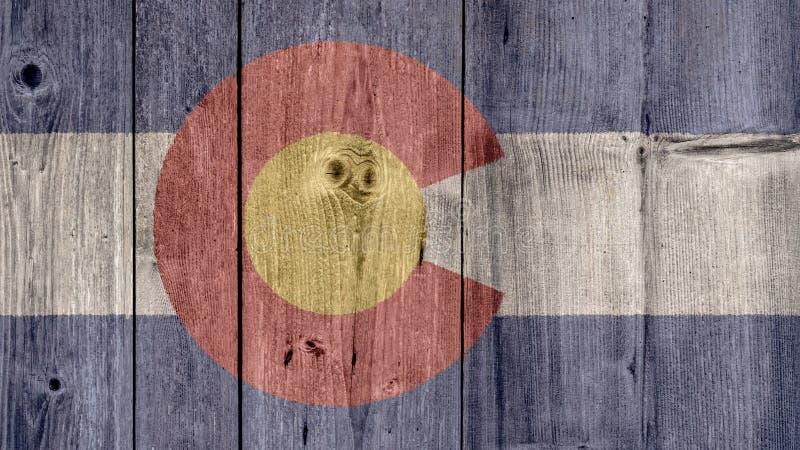 Cerca de madeira da bandeira de Colorado do estado de E.U. fotografia de stock
