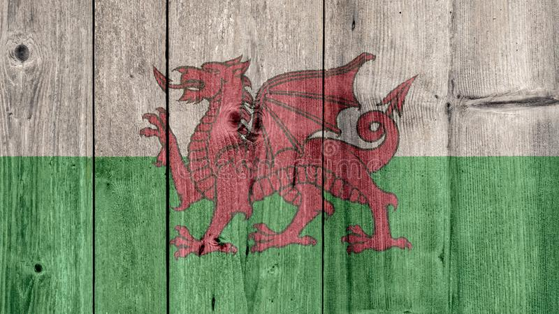 Cerca de madeira da bandeira de Gales imagem de stock royalty free