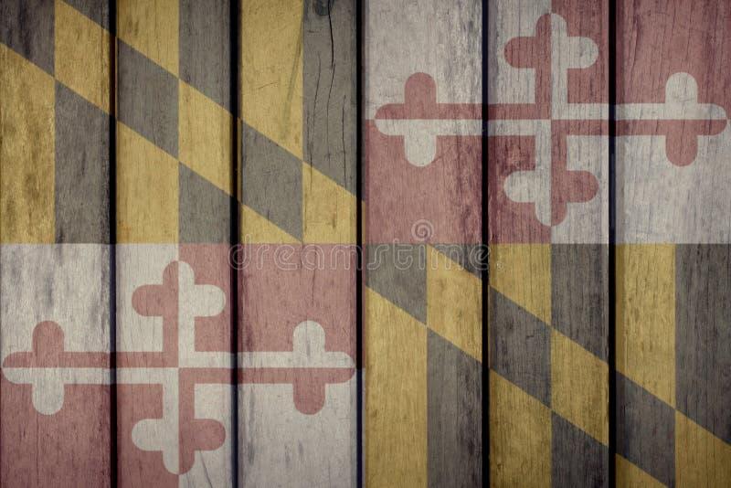 Cerca de madeira da bandeira de Maryland do estado de E.U. fotos de stock