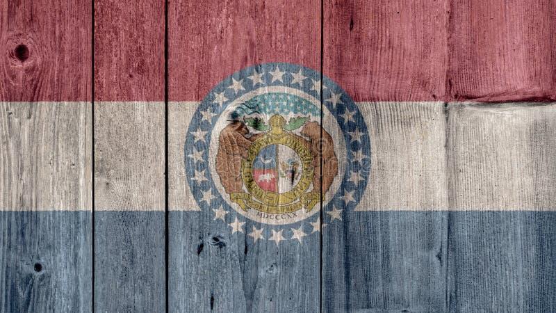 Cerca de madeira da bandeira de Missouri do estado de E.U. imagens de stock