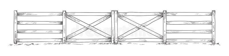 Cerca de madeira do esboço ilustração do vetor