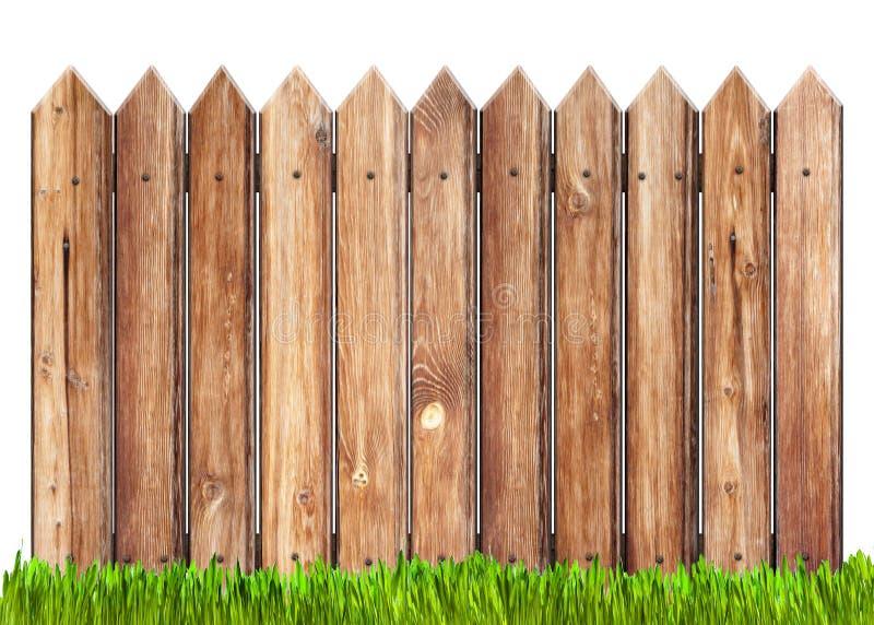 Cerca de madeira e grama isoladas fotos de stock