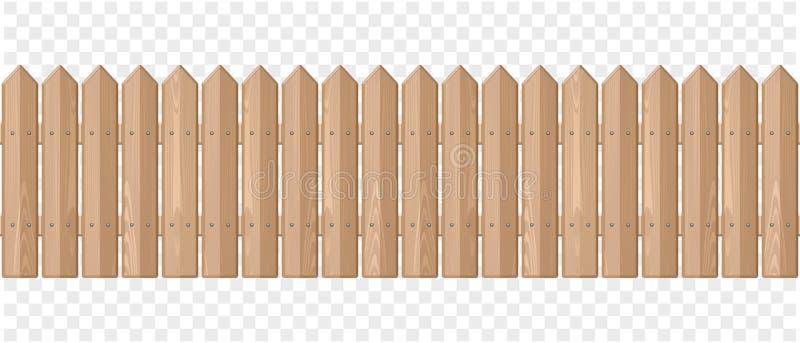 Cerca de madeira infinita em um fundo transparente ilustração stock