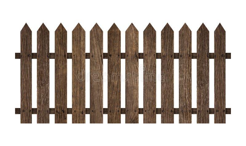 Cerca de madeira isolada no fundo branco O trajeto de grampeamento inclui nesta imagem imagens de stock