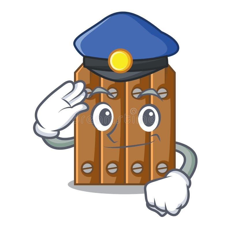 Cerca de madeira marrom da polícia isolada no caráter ilustração royalty free