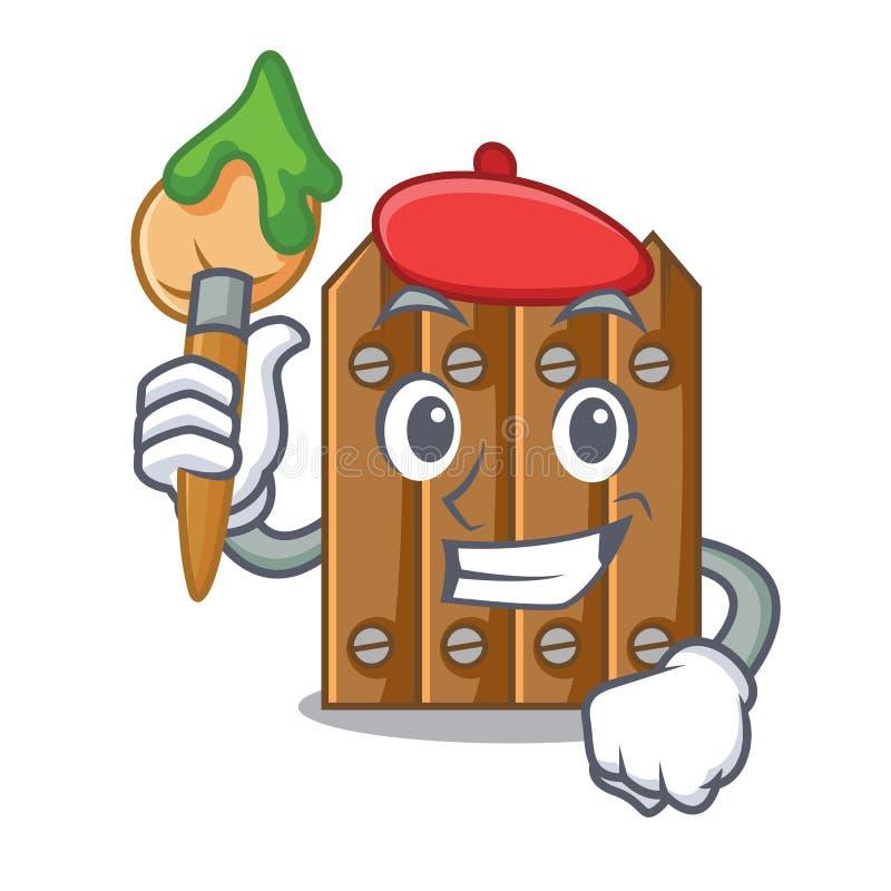 Cerca de madeira marrom do artista isolada no caráter ilustração royalty free