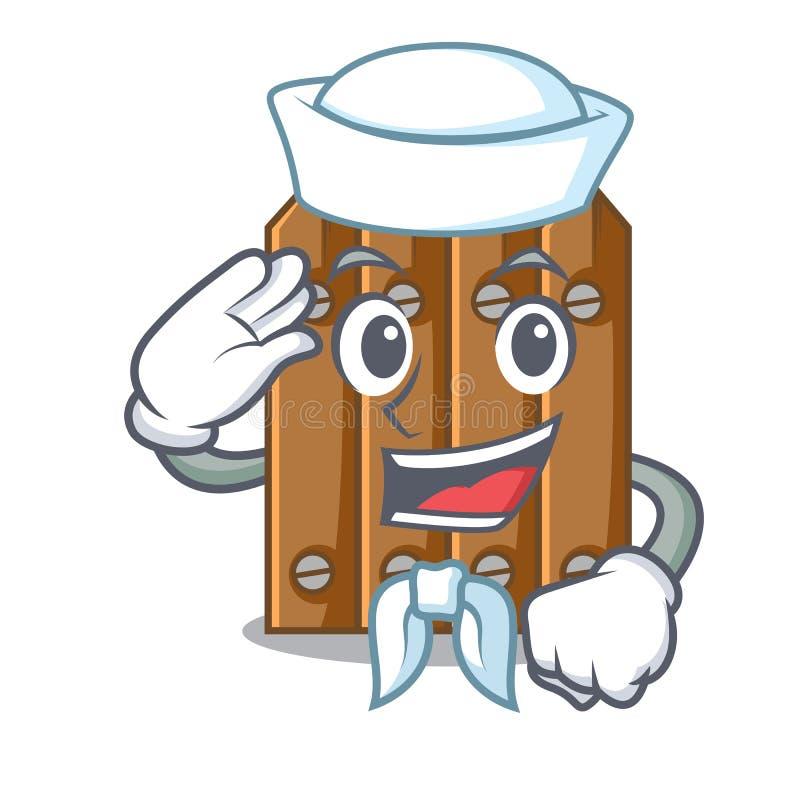 Cerca de madeira marrom do marinheiro isolada no caráter ilustração royalty free