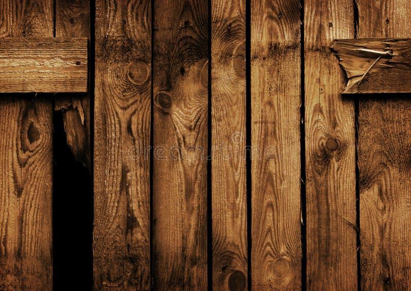 Cerca de madeira marrom velha imagens de stock royalty free