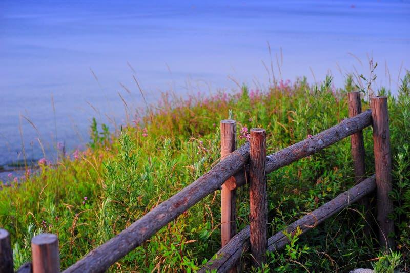 Cerca de madeira na grama foto de stock royalty free