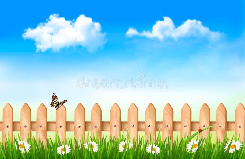 Cerca de madeira na grama com flores ilustração royalty free