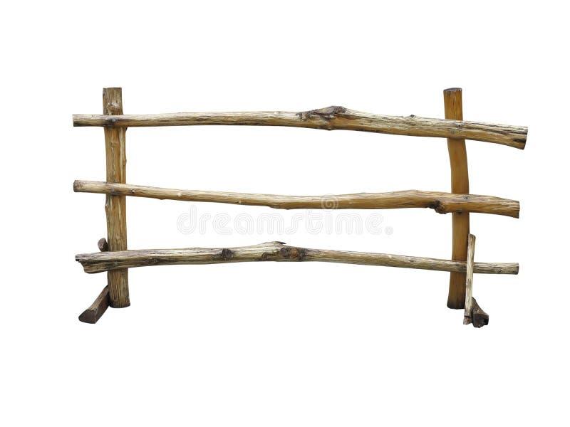Cerca de madeira no rancho isolado sobre o branco imagem de stock