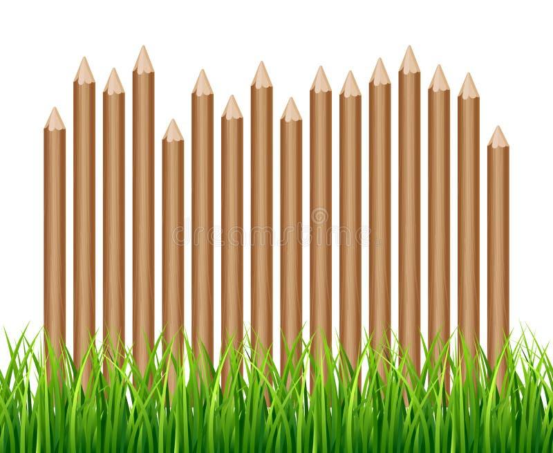 Cerca de madeira rural, paliçada na ilustração do vetor da grama verde ilustração do vetor