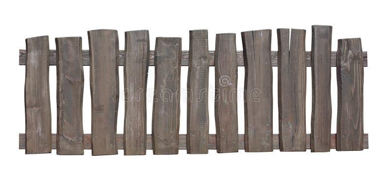 Cerca de madeira velha isolada com trajeto de grampeamento imagens de stock royalty free