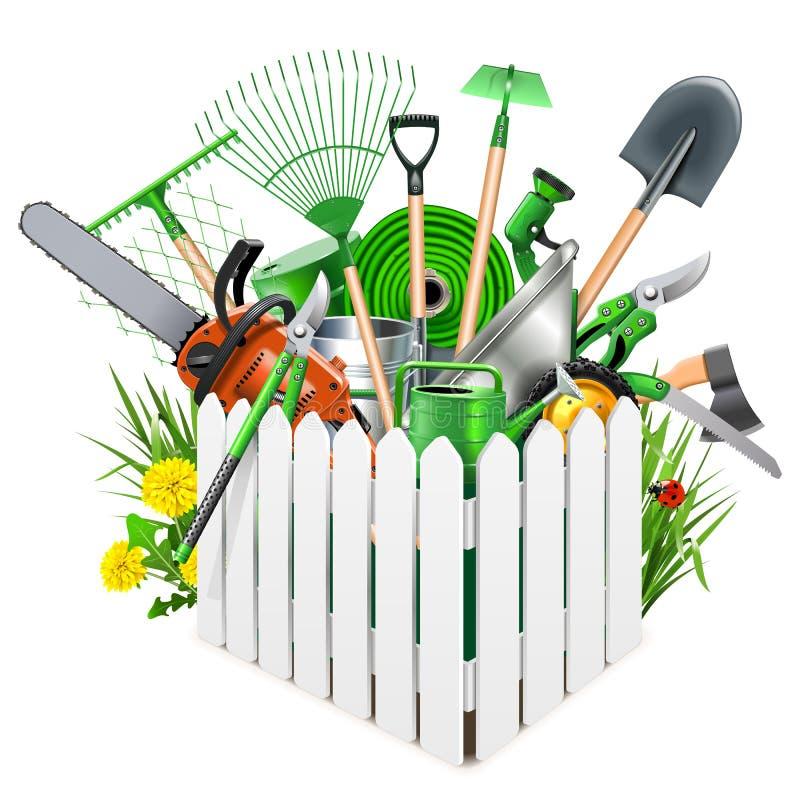 Cerca de madera blanca del vector con los accesorios del jardín libre illustration