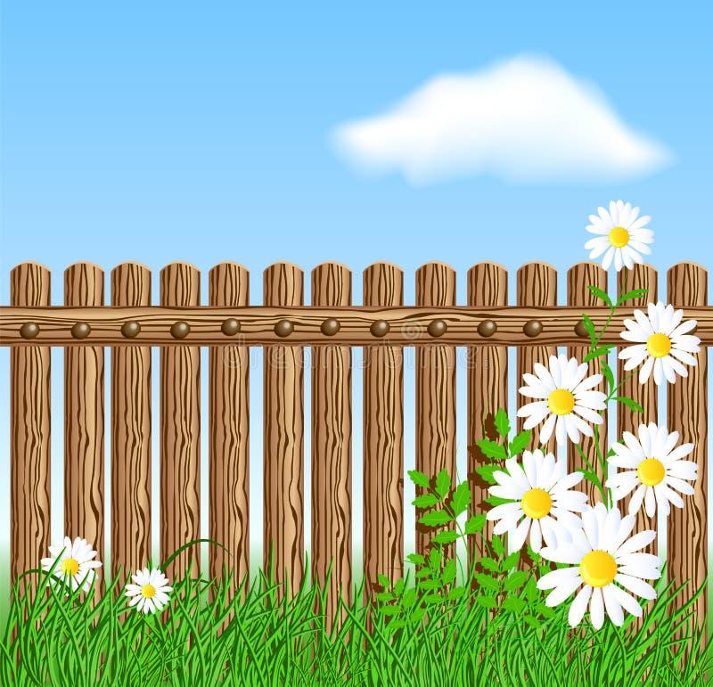 Cerca de madera en hierba verde con la margarita libre illustration
