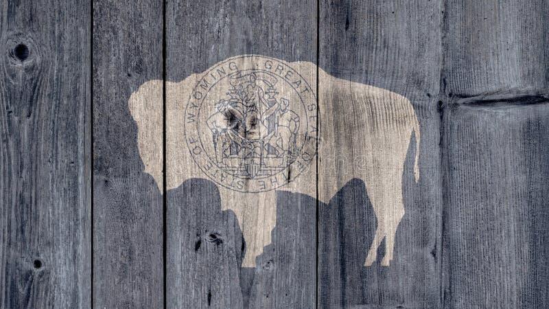 Cerca de madera de la bandera de Wyoming del estado de los E.E.U.U. fotos de archivo libres de regalías