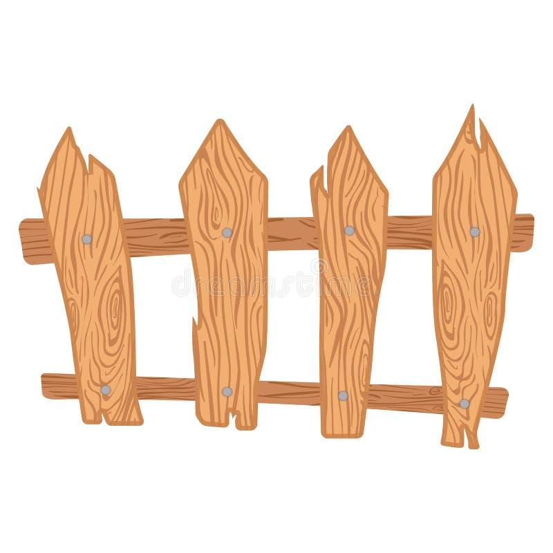Cerca de madera de la historieta stock de ilustración