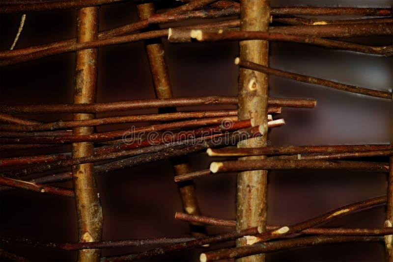 Cerca de mimbre de las ramas de árbol imagen de archivo libre de regalías