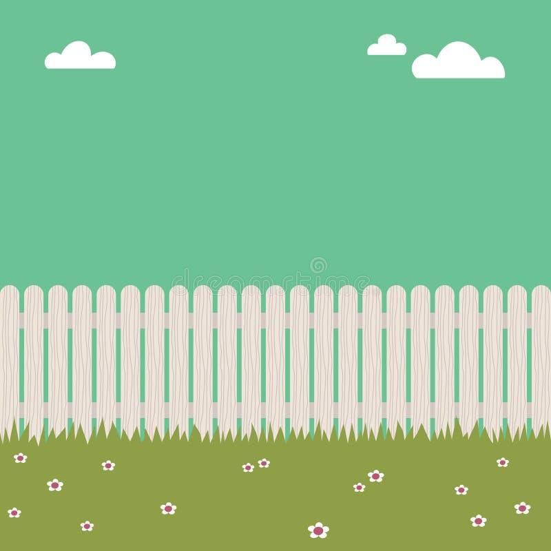 Cerca de piquete blanca stock de ilustración