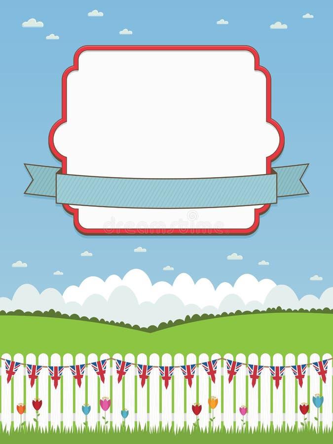 Cerca de piquete britânica com frame ilustração do vetor