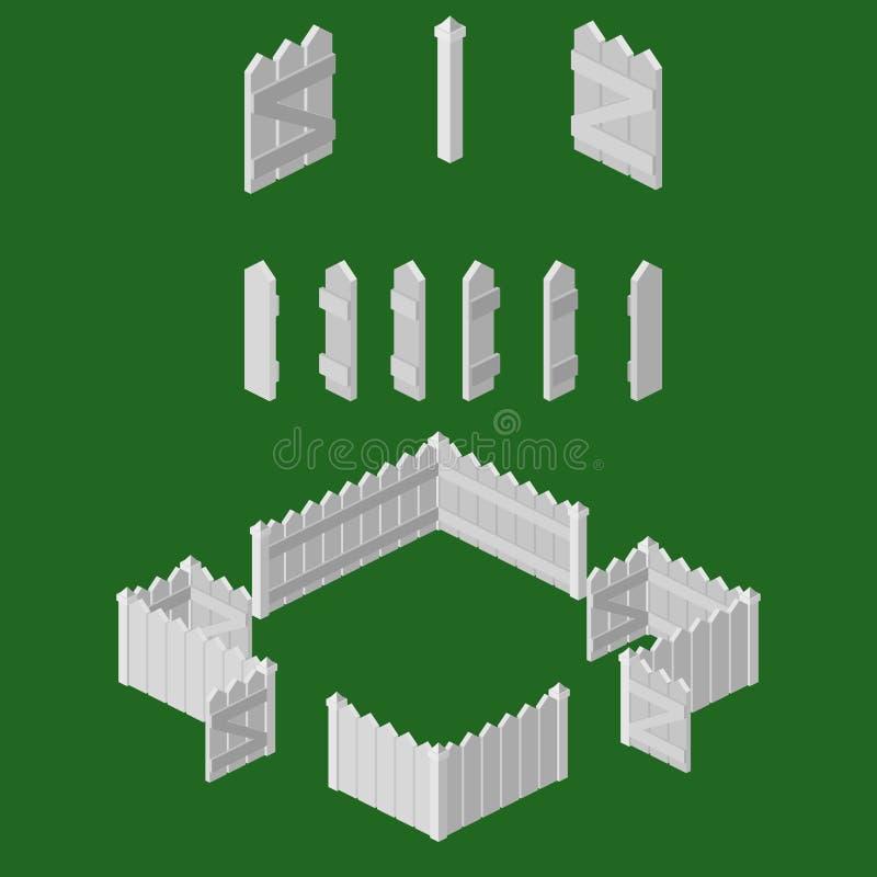 Cerca de piquete isométrica Building Kit foto de stock royalty free