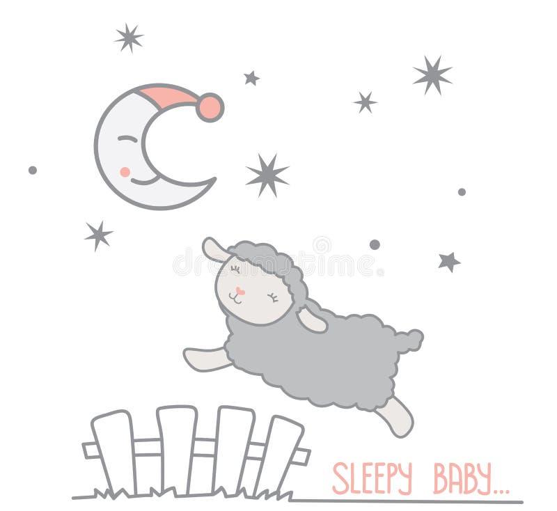 Cerca de piquete pequena bonito Under de Gray Sheep Jumping Over White Crescent Moon com cena Countin sonhador da noite do tampão ilustração do vetor