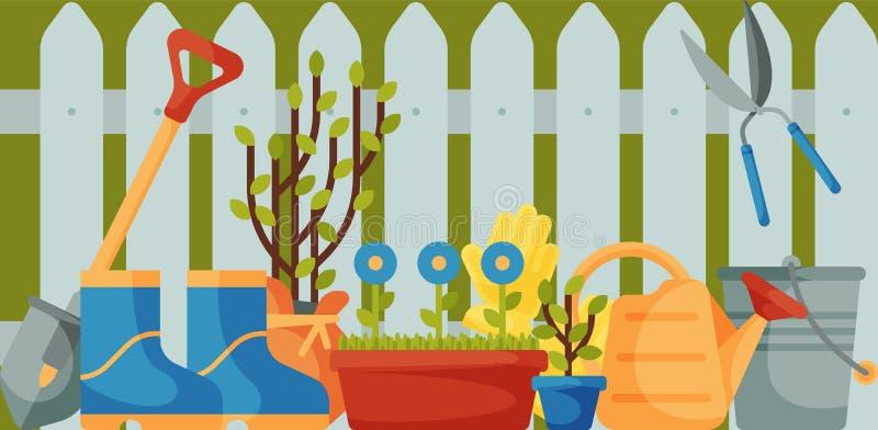 Cerca do jardim com ilustração do vetor da bandeira das ferramentas Equipamento de jardinagem tal como a pá de pedreiro, enxada d ilustração royalty free