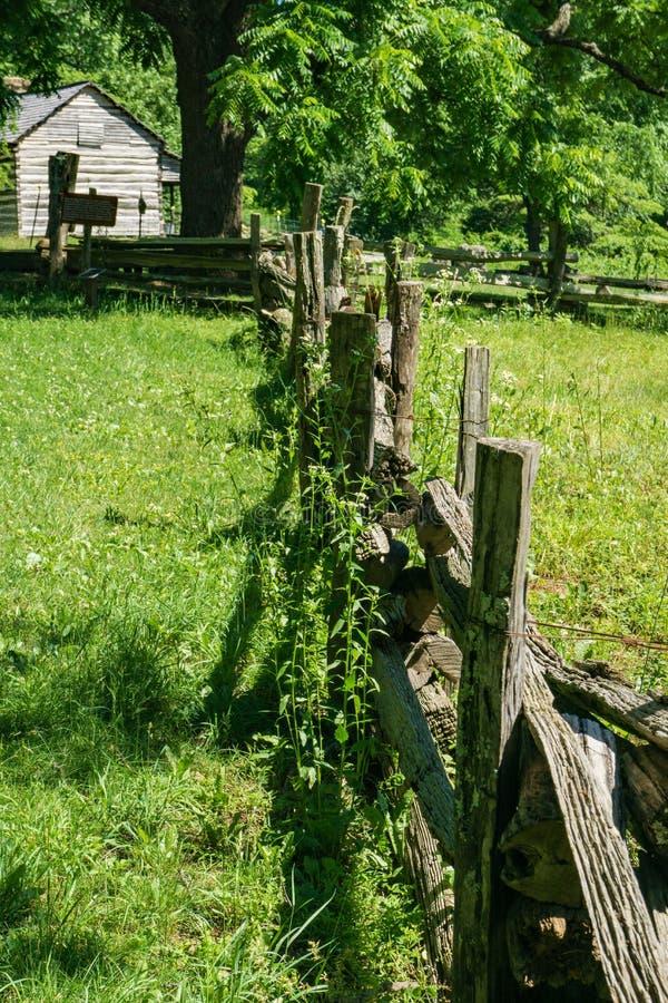 A cerca e a casa da quinta de trilho da pilha nas rochas da corcunda cultivam o museu foto de stock