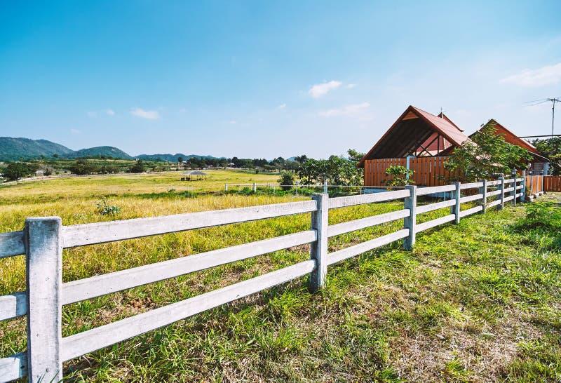 A cerca e a exploração agrícola brancas abrigam a paisagem rural idílico do cenário foto de stock royalty free