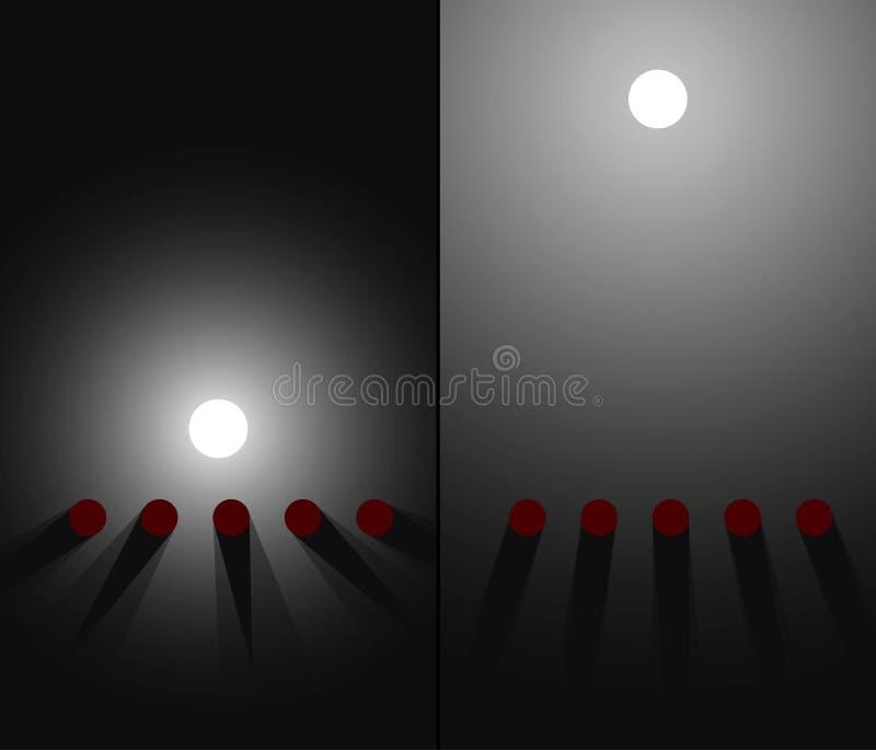 Cerca e iluminación lejana optics Sombras que cambian esquema del experimento Ilustración ilustración del vector