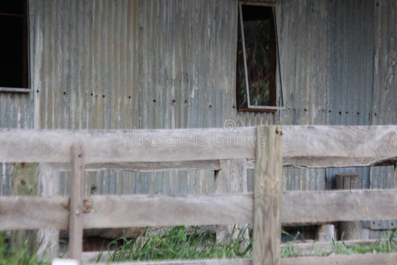 Cerca e Tin Shed de madeira idosos imagens de stock royalty free